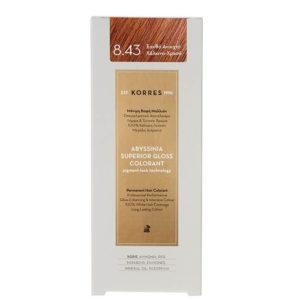 Γυναίκα Korres Abyssinia Superior Gloss Colorant Μόνιμη Βαφή Μαλλιών 8.43 Ξανθό Ανοικτό/Χάλκινο Χρυσό – 50ml