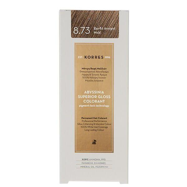 Γυναίκα Korres Abyssinia Superior Gloss Colorant Μόνιμη Βαφή Μαλλιών 8.73 Ξανθό Ανοικτό Μελί – 50ml