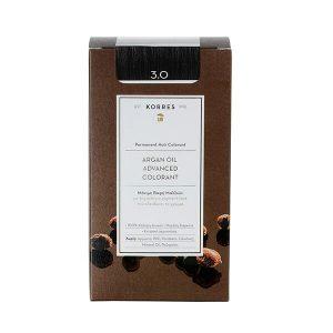 Γυναίκα Korres Argan Oil Advanced Colorant Μόνιμη Βαφή Μαλλιών 3.0 Καστανό Σκούρο – 50ml