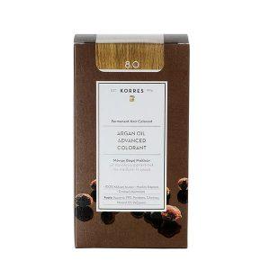 Γυναίκα Korres Argan Oil Advanced Colorant Μόνιμη Βαφή Μαλλιών 8.0 Ξανθό Ανοιχτό – 50ml