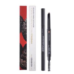 Γυναίκα Korres Minerals Precision Brow Μολύβι Φρυδιών – No01 Σκούρη Απόχρωση – 0,2g.