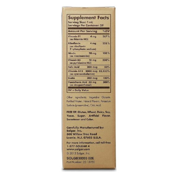 Βιταμίνες Solgar – Συμπλήρωμα Διατροφής Φυσικής Βιταμίνης Β12 2000mg – με Βιταμίνες του Συμπλέγματος Β σε Υγρή Μορφή για Υπογλώσσια Λήψη και Μέγιστη Απορρόφηση – 59ml