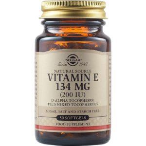 Βιταμίνες Solgar – Συμπλήρωμα Διατροφής Βιταμίνης Ε 134mg 200IU – 50softgels