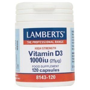 Βιταμίνες Lamberts – Vitamin D3 1000iu (25mg) Υγεία Οστών Δοντιών Μυών Ανοσοποιητικού Συστήματος & για Χορτοφάγους – 120caps