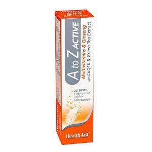 Ανοσοποιητικό-Χειμώνας Health Aid A To Z Active Multivitamins & Ginseng 20 Αναβράζοντα Δισκία