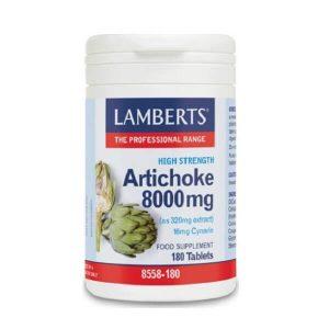 Άλλα Βότανα Lamberts – Αποτελεί ένα Υψηλής Περιεκτικότητας Εκχύλισμα Αγκινάρας 8000mg για την Υγεία του Εντέρου – 180tabs