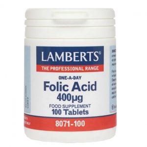 Διατροφή & Υγεία Lamberts – Φυλλικό Οξύ 400µg – 100tabs