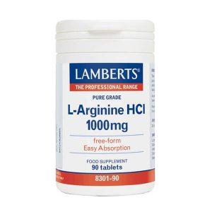Αμινοξέα Lamberts – Συμπλήρωμα Διατροφής Αργινίνης 1000mg για τη Φυσική Τόνωση της Σεξουαλικής Επιθυμίας και Απόδοσης – 90tabs