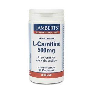 Άθληση - Κακώσεις Lamberts – Ελεύθερης Μορφής Καρνιτίνη 500mg Χρήσιμη σε Αθλητές & Υποσιτιζόμενα Άτομα – 60caps