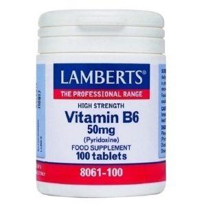 Βιταμίνες Lamberts – Βιταμίνη B6 (Πυριδοξίνη) 50mg – 100tabs