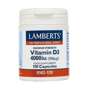 Ανοσοποιητικό Lamberts – Βιταμίνη D3 4000iu (100mg) Yγιές ανοσοποιητικό σύστημα – 120caps