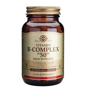 Διατροφή & Υγεία Solgar – Σύμπλεγμα Βιταμινών Β-50 Για την Καλή Υγεία του Νευρικού Συστήματος – 100veg.caps