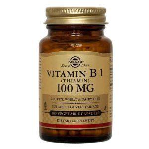 Αντιμετώπιση Solgar – Συμπλήρωμα Διατροφής με Θειαμίνη 100mg Συμβάλλει στη Φυσιολογική Λειτουργία του Νευρικού Συστήματος των Μυών και της Καρδιάς – 100 veg.caps