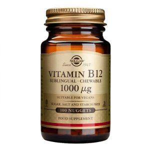 Αντιμετώπιση Solgar – Συμπλήρωμα Διατροφής Βιταμίνης Β12 (Κοβαλαμίνη) 1000mg – Απαραίτητη σε Έλλειψη Βιταμίνης Β12 σε Ηλικιωμένους Φυτοφάγους και Άτομα με Πεπτικές Διαταραχές – 100 Υπογλώσσια Δισκία