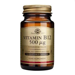 Αντιμετώπιση Solgar – Συμπλήρωμα Διατροφής Βιταμίνης Β12 (Κοβαλαμίνη) 500mg – Απαραίτητη σε Έλλειψη Βιταμίνης Β12 σε Ηλικιωμένους Φυτοφάγους και Άτομα με Πεπτικές Διαταραχές – 50 veg.caps