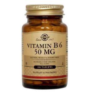 Βιταμίνες Solgar – Συμπλήρωμα Διατροφής Βιταμίνη B6 50mg (Πυριδοξίνη) – 100tabs