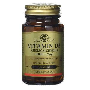 Βιταμίνες Solgar – Συμπλήρωμα Διατροφής Βιταμίνη D3 1000IU 25mg – 90 tabs