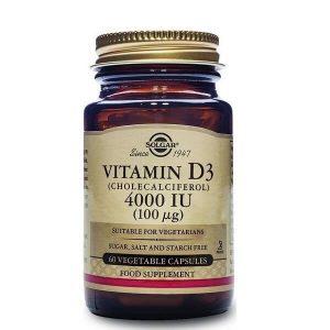 Βιταμίνες Solgar – Συμπλήρωμα Διατροφής Βιταμίνη D3 4000IU 100mg – 60veg.caps