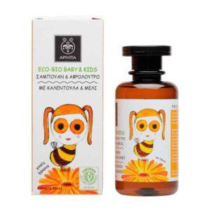 Μαμά - Παιδί Apivita Eco Bio Baby & Kids Σαμπουάν & Αφρόλουτρο με Καλέντουλα & Μέλι – 200ml