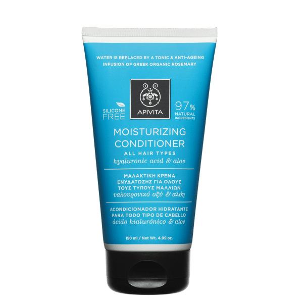 Γυναίκα Apivita Moisturizing Conditioner Μαλακτική Κρέμα Ενυδάτωσης για Όλους τους Τύπους Μαλλιών με Υαλουρονικό Οξύ & Αλόη – 150ml