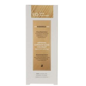 Γυναίκα Korres Abyssinia Superior Gloss Colorant Μόνιμη Βαφή Μαλλιών 9.0 Ξανθό Πολύ Ανοικτό – 50ml