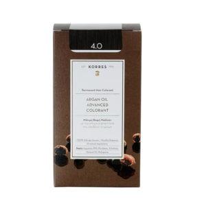 Γυναίκα Korres Argan Oil Advanced Colorant Μόνιμη Βαφή Μαλλιών 4.0 Καστανό – 50ml