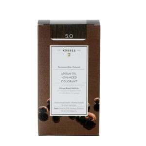 Γυναίκα Korres Argan Oil Advanced Colorant Μόνιμη Βαφή Μαλλιών 5.0 Καστανό Ανοιχτό – 50ml