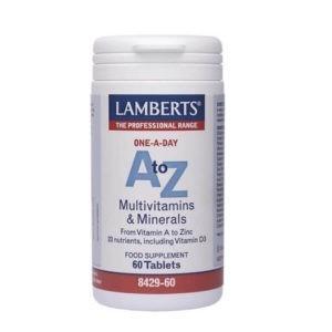 Διατροφή & Υγεία Lamberts – A to Z πλήρης Πολυβιταμίνη & Μέταλλα – 60tabs