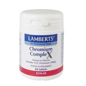 Μέταλλα - Ιχνοστοιχεία Lamberts – Συμπλήρωμα Διατροφής με Χρώμιο για τη Διατήρηση του Σακχάρου του Αίματος σε Φυσιολογικά Επίπεδα – 60tabs