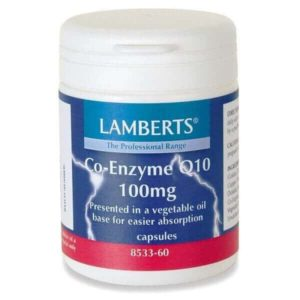 Διατροφή & Υγεία Lamberts – Συνένζυμο Q10 100mg Συμπλήρωμα Διατροφής για την Παραγωγή Ενέργειας από τα Θρεπτικά Συστατικά της Τροφής – 30caps