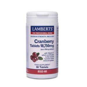 Ανοσοποιητικό Lamberts – Κάψουλες με Κράνμπερι 18.750mg για την Υγεία του Ουροποιητικού – 60caps