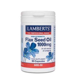 Διατροφή & Υγεία Lamberts – Λάδι από Λιναρόσπορο 1000mg για την Υγεία του Καρδιαγγειακού Συστήματος και του Δέρματος – 90Caps