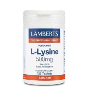 Αμινοξέα Lamberts – Αμινοξύ Λυσίνης 500mg – 120tabs
