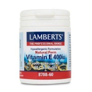 Βιταμίνες Lamberts – Σκεύασμα φυσικής Βιταμίνης Ε 400iu – 60caps