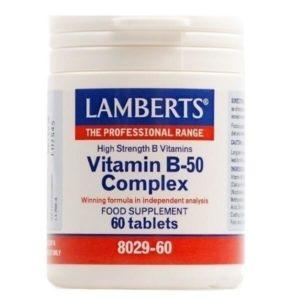 Βιταμίνες Lamberts – Ισορροπημένος Συνδυασμός Β-Βιταμινών – 60tabs