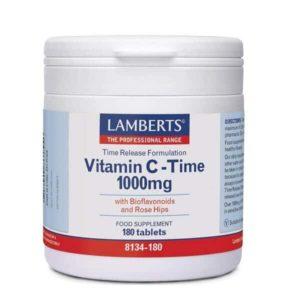 Βιταμίνες Lamberts – Βιταμίνη C 1000mg Ελεγχόμενης Αποδέσμευσης με Βιοφλαβονοειδή – 180tabs