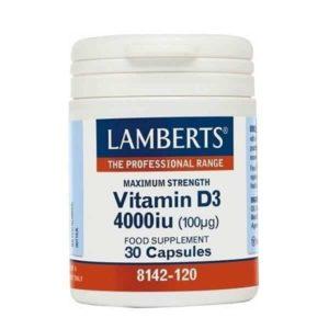 Ανοσοποιητικό Lamberts – Βιταμίνη D3 4000iu (100mg) Yγιές ανοσοποιητικό σύστημα – 30caps