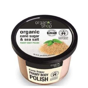 Απολέπιση - Καθαρισμός Σώματος Natura Siberica Organic Shop – Αφρώδες Απολεπιστικό Σώματος με Ζάχαρη Ζαχαροκάλαμου & Θαλασσινό Αλάτι – 250ml
