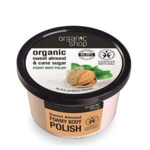 Απολέπιση - Καθαρισμός Σώματος Natura Siberica – Organic Shop Body Polish Sweet Almond – Αφρώδες Απολεπιστικό Σώματος με Γλυκό Αμύγδαλο & Ζάχαρη Ζαχαροκάλαμου – 250ml