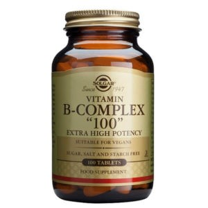 Διατροφή & Υγεία Solgar – Σύμπλεγμα Βιταμινών Β-100 Για την Καλή Υγεία του Νευρικού Συστήματος – 100veg.caps