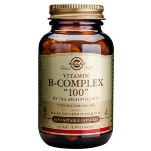 Διατροφή & Υγεία Solgar – Σύμπλεγμα Βιταμινών Β-100 Για την Καλή Υγεία του Νευρικού Συστήματος – 50veg.caps