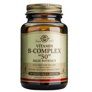 Διατροφή & Υγεία Solgar – Σύμπλεγμα Βιταμινών Β-50 Για την Καλή Υγεία του Νευρικού Συστήματος – 50veg.caps
