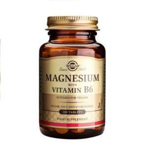 Άγχος - Στρες - Χαλάρωση Solgar – Συμπλήρωμα Διατροφής Μαγνήσιου και Βιταμίνης B6 – Χρήσιμο στην Καταπολέμηση των Ημικρανιών στην Μείωση των Κραμπών και των Προεμμηνορυσιακών Συμπτωμάτων – 100 tabs