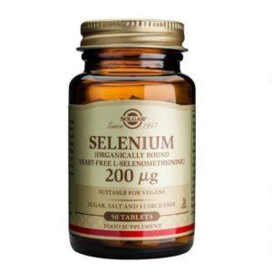 Διατροφή & Υγεία Solgar – Συμπλήρωμα Διατροφής με Οργανικό Σελήνιο 200mg – Χρήσιμο στην καλή Λειτουργία του Ανοσοποιητικού Συστήματος του Θυρεοειδούς και τη Σπερματογένεση – 50 tabs