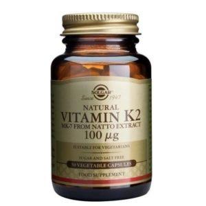 Διατροφή & Υγεία Solgar – Λιποδιαλυτή Βιταμίνη Μορφής Κ2 100mg (Φυτοναδιόνη) – 50veg.caps