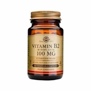 Βιταμίνες Solgar – Συμπλήρωμα Διατροφής Βιταμίνη Β2 100mg (Ριβοφλαβίνη) – 100 veg.caps