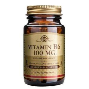 Βιταμίνες Solgar – Συμπλήρωμα Διατροφής Βιταμίνη B6 100mg (Πυριδοξίνη) – 100veg.caps