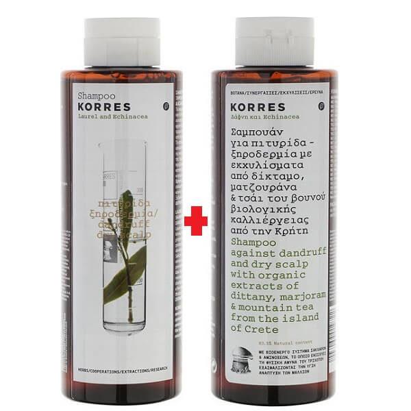 Σαμπουάν Korres Σαμπουάν Δάφνη και Echinacea για Πυτιρίδα & Ξηροδερμία 250ml (1+1 Δώρο)