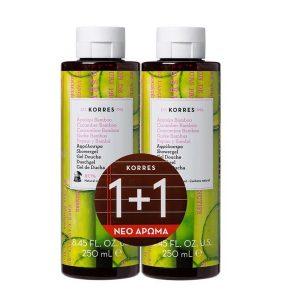 Αφρόλουτρα Korres-Αφρόλουτρο Αγγούρι Bamboo 250ml (1+1 Δώρο)