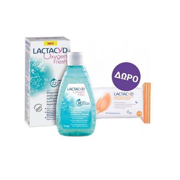 Γυναίκα Lactacyd – Καθαριστικό Gel της Ευαίσθητης Περιοχής  με Φυσαλίδες Οξυγόνου και Αρκτικά Μούρα 200ml +  Μαντηλάκια Καθαρισμού Ευαίσθητης Περιοχής 15τμχ